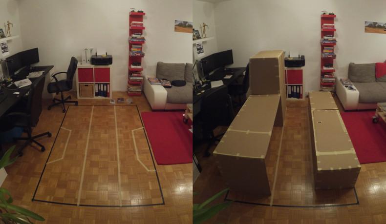 Pappbau im Wohnzimmer
