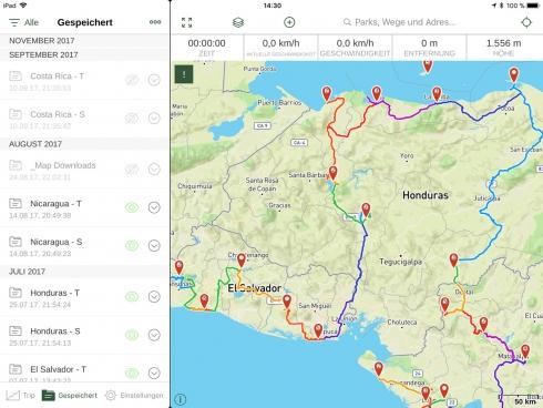 Gaia GPS - Ordnerübersicht