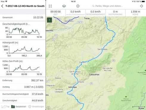 Gaia GPS - Mapbox Outdoor Karte und Track Statistik