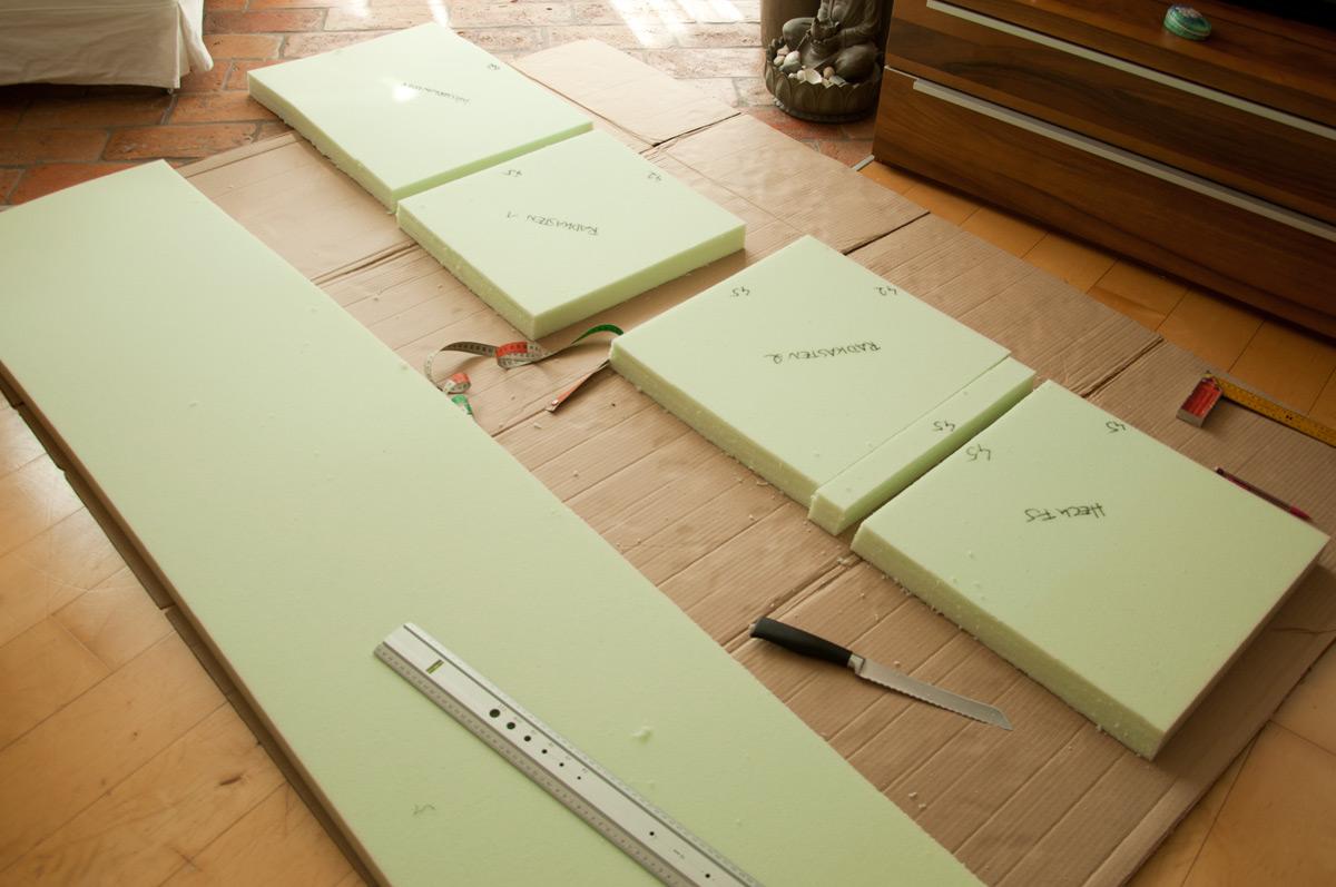 neue sitzpolster und matratzen f r unseren camper wir. Black Bedroom Furniture Sets. Home Design Ideas
