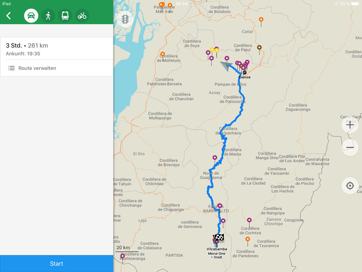 Maps Me Routenplanung