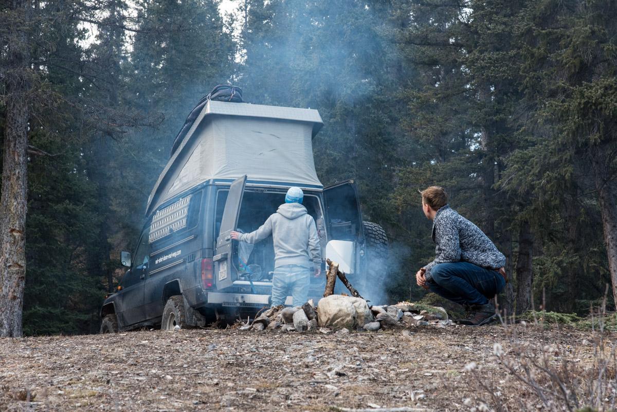 Camping am Saskatchewan River